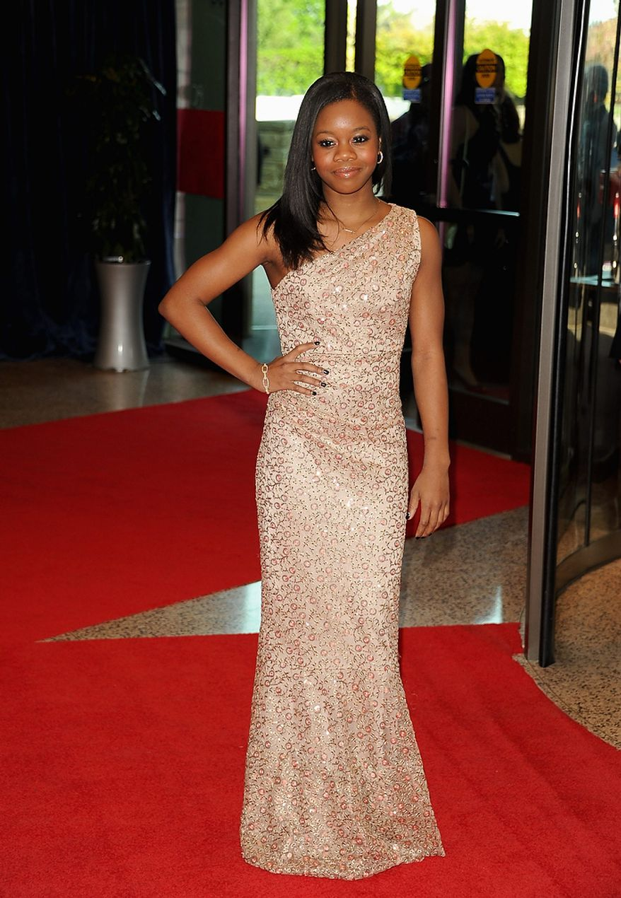 Olympic gymnast Gabby Douglas attends the White House Correspondents' Association Dinner at the Washington Hilton Hotel on Saturday, April 27, 2013, in Washington. (Evan Agostini/Invision/AP)