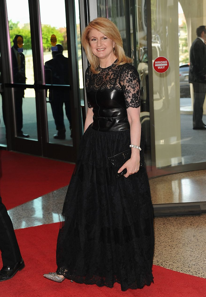 Author and syndicated columnist Arianna Huffington attends the White House Correspondents' Association Dinner at the Washington Hilton Hotel on Saturday, April 27, 2013, in Washington. (Evan Agostini/Invision/AP)