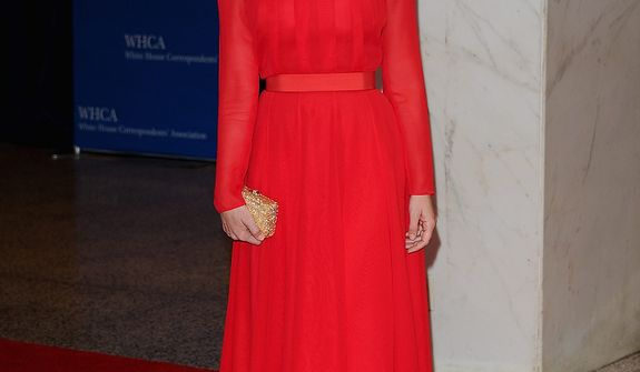 "Actress Emily Mortimer of the HBO series ""The Newsroom"" attends the White House Correspondents' Association Dinner at the Washington Hilton Hotel on Saturday, April 27, 2013, in Washington. (Evan Agostini/Invision/AP)"