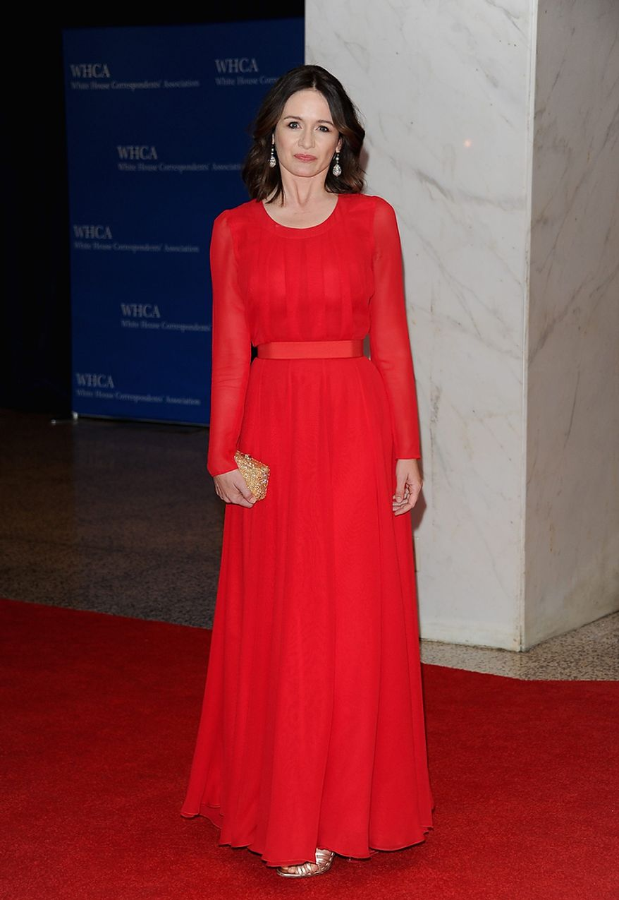 """Actress Emily Mortimer of the HBO series """"The Newsroom"""" attends the White House Correspondents' Association Dinner at the Washington Hilton Hotel on Saturday, April 27, 2013, in Washington. (Evan Agostini/Invision/AP)"""