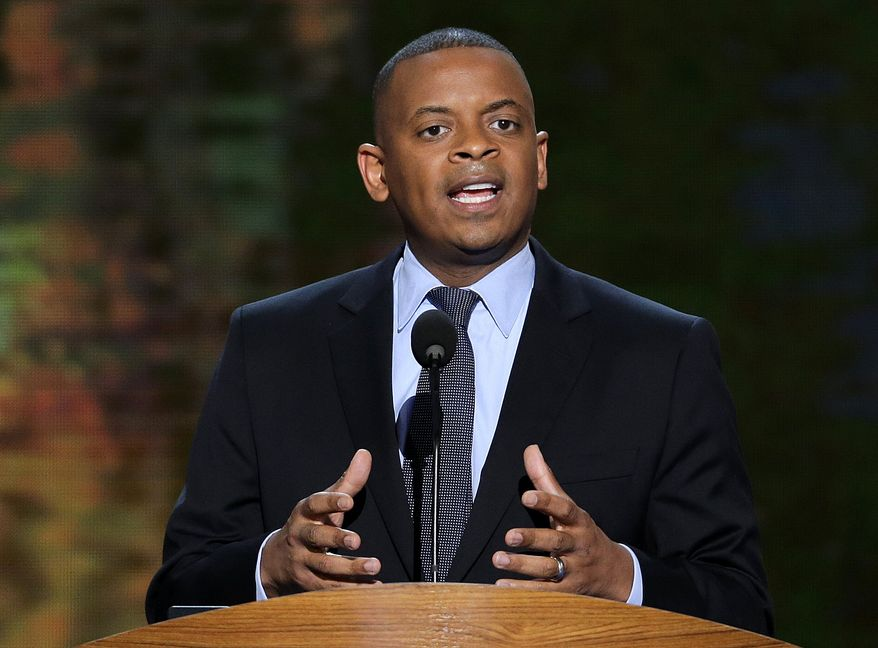 ** FILE ** In this Sept. 4, 2012, file photo, Charlotte Mayor Anthony Foxx addresses the Democratic National Convention in Charlotte, N.C. (AP Photo/J. Scott Applewhite, File)