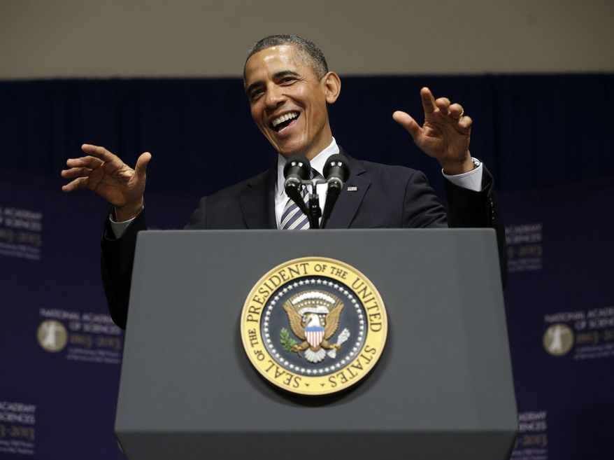 President Obama speaks at the National Academy of Sciences (NAS) 150th Anniversary, during their annual meeting in Washington on April 29, 2013. NAS was established in 1863 through a congressional charter signed by President Lincoln. It is a private, nonprofit organization charged with providing independent, objective advice to the U.S. government on matters related to science and technology. (Associated Press)