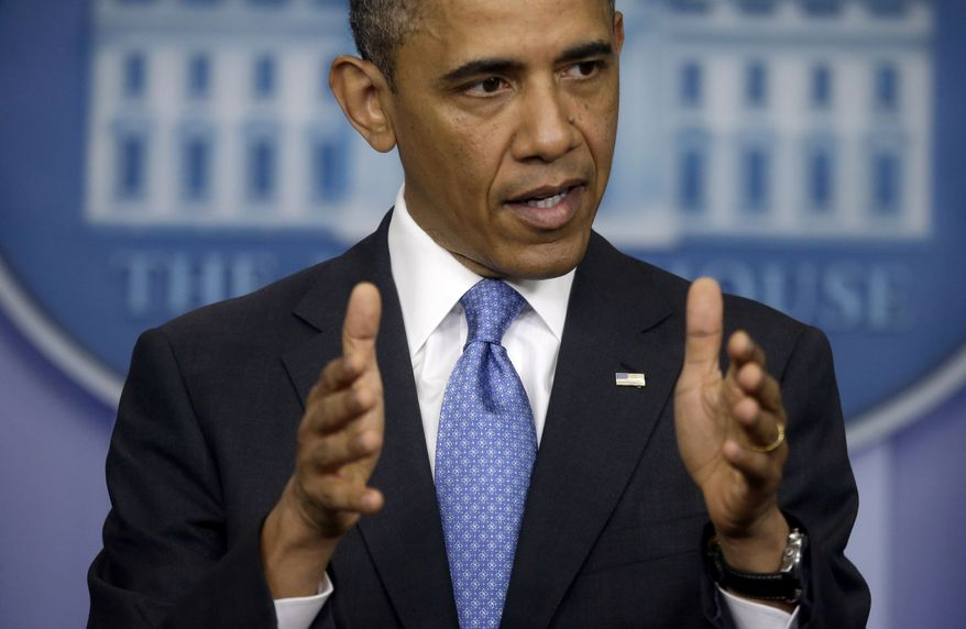 President Obama answers questions during his new conference in the Brady Press Briefing Room of the White House in Washington on April 30, 2013. (Associated Press)