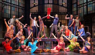"""The cast performs in the Broadway musical """"Kinky Boots,"""" which garnered 13 Tony Award nominations this year. (AP Photo/The O+M Company, Matthew Murphy)"""