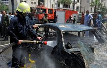 There were numerous fatalities Tuesday when a blast in Damascus' business district, the second in as many days, set cars and a nearby building ablaze.