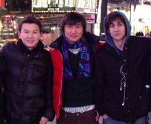 This undated photo added on April 18, 2013, to the VK page of Dias Kadyrbayev shows, from left, Azamat Tazhayakov and Dias Kadyrbayev, from Kazakhstan, with Boston Marathon bombing suspect Dzhokhar Tsarnaev in Times Square in New York. (Associated Press/VK) **FILE**