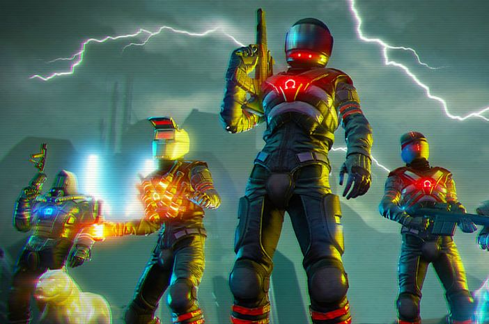 Meet the enemy in the first person shooter Far Cry 3: Blood Dragon.