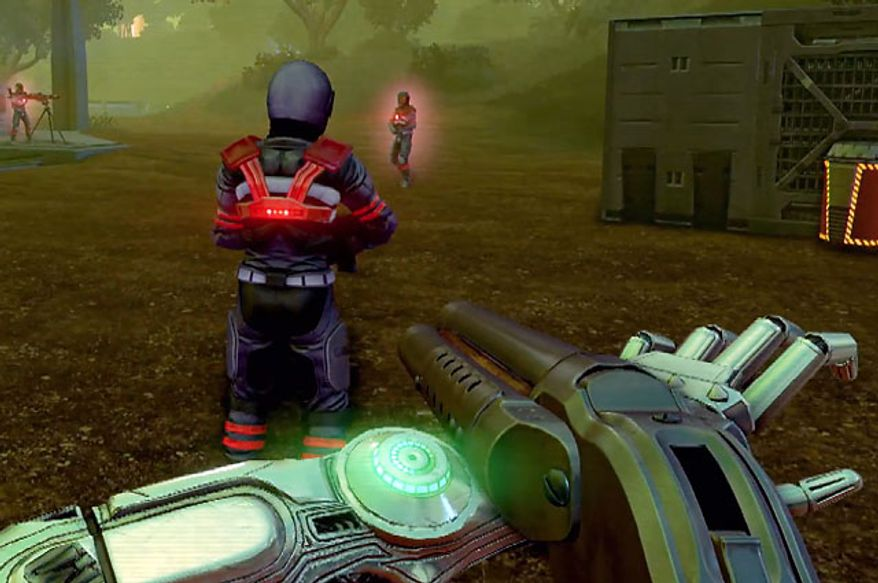 Rex Colt uses his handy quad-barrel shotgun to dispatch enemies in the first person shooter Far Cry 3: Blood Dragon.