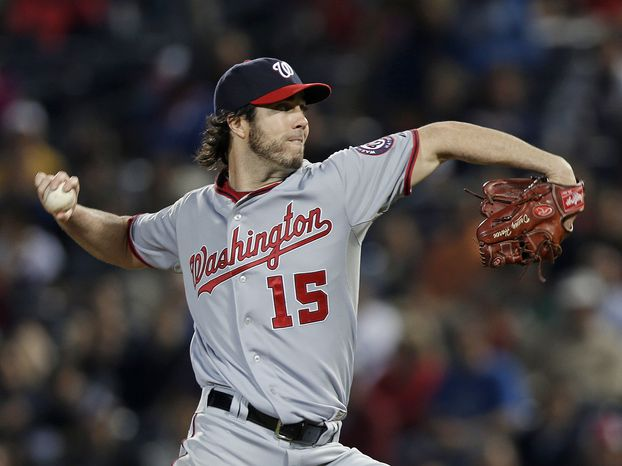 Dan Haren pitched eight innings and allowed just one run as the Washington Nationals beat the Atlanta Braves for the second consecutive night. (Associated Press