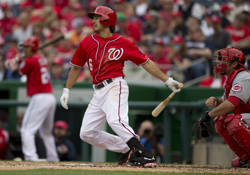 Washington Nationals Anthony Rendon bats during the third inning of a baseball game against the Cincinnati Reds at Nationals Park on Sunday, April 28, 2013, in Washington. (AP Photo/Evan Vucci)
