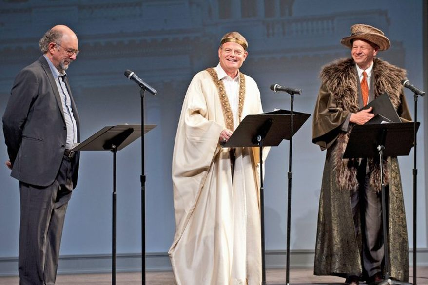 Richard Schiff as the Producer and Representatives Mike McIntyre and Thomas Petri as the Epilogue Chorus in the 2012 Will on the Hill. Photo by Margot Schulman.