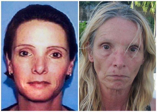 This combination of Associated Press file photos shows, left, an undated driver's license photo distributed by police in 2002 of Brenda Heist, and right, an April 26, 2013, photo of Heist taken by