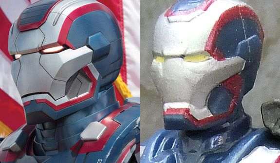 The movie version of Iron Man 3: Iron Patriot compared to his Hasbro Assemblers counterpart. (Photograph by Joseph Szadkowski / The Washington Times)