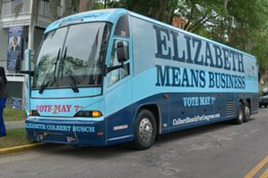 Elizabeth Colbert Busch, the sister of comedian Stephen Colbert, has been rolling through South Carolina aboard a splashy campaign bus in her quest to win this week's special election for the U.S. House representing the 1st District. (Elizabeth Colbert Busch for Congress)