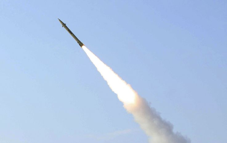 ** FILE ** This photo released on Wednesday, Aug. 25, 2010, by the Iranian Defense Ministry claims to show the launch of the Fateh-110 short-range surface-to-surface missile by Iranian armed forces at an undisclosed location. (AP Photo/Iranian Defense Ministry, Vahid Reza Alaei)
