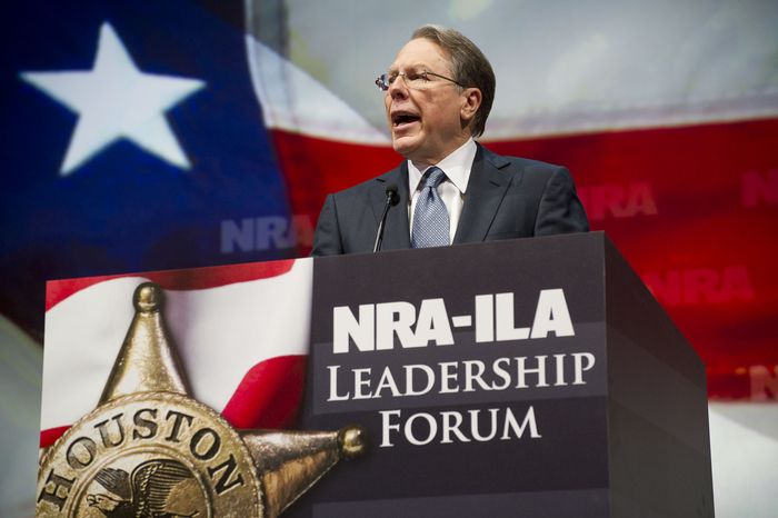 Wayne LaPierre, executive vice president and chief executive officer of the National Rifle Association, speaks during a leadership forum at the group's a
