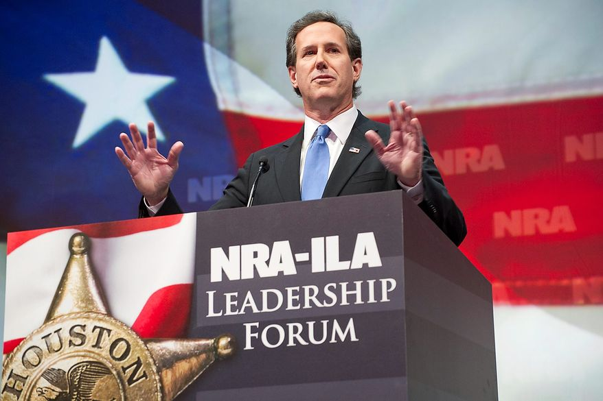 Former Sen. Rick Santorum, R-Pa., speaks during the leadership forum at the National Rifle Association's annual convention Friday, May 3, 2013 in Houston. (AP Photo/Steve Ueckert)