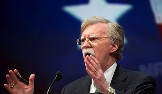 Former U.N. Ambassador John R. Bolton speaks during the leadership forum at the National Rifle Association's annual convention on Friday, May 3, 2013, in Houston. (AP Photo/Steve Ueckert)