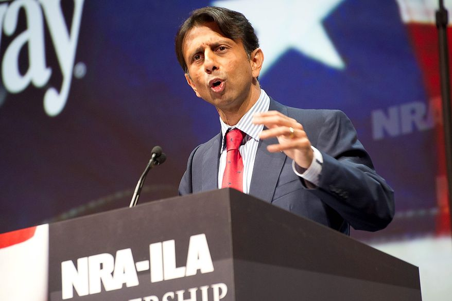 Louisiana Gov. Bobby Jindal speaks during the leadership forum at the National Rifle Association's annual convention on Friday, May 3, 2013, in Houston. (AP Photo/Steve Ueckert)