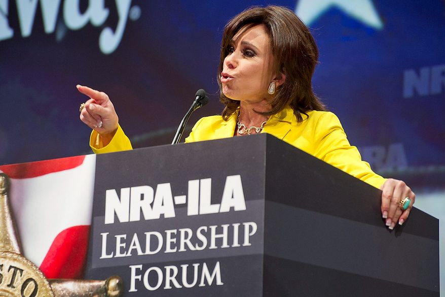 TV personality Jeanine Pirro speaks during the leadership forum at the National Rifle Association's annual convention Friday, May 3, 2013 in Houston. (AP Photo/Steve Ueckert)