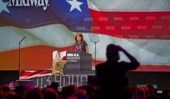 Former Alaska Gov. Sarah Palin speaks during the leadership forum at the National Rifle Association's annual meeting Friday, May 3, 2013 in Houston. (AP Photo/Steve Ueckert)