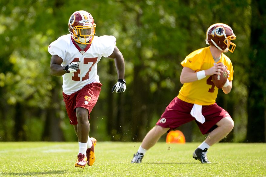 Newly drafted Washington Redskins running back Jawan Jamison (47) runs during a drill at the team's rookie minicamp at Redskins Park in Ashburn, Va., on Sunday, May 5, 2013. (Andrew Harnik/The Washington Times)