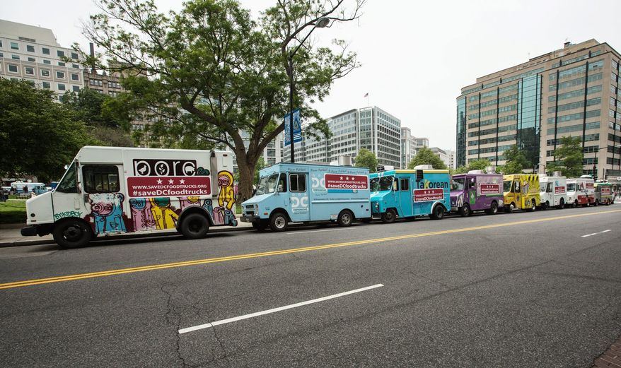 The trucks were in their usual spots in a long line at Farragut Square on Monday, but the food they usually serve wasn't, a disappointment for many hungry people looking forward to their favorite lunch.