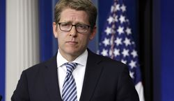 White House press secretary Jay Carney listens to a question from the media during his daily news briefing at the White House in Washington on Monday, May 6, 2013. (AP Photo/Jacquelyn Martin)