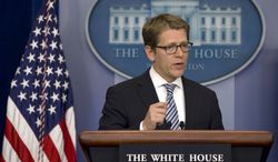 White House spokesman Jay Carney speaks during his daily news briefing at the White House in Washington on May 6, 2013. (Associated Press)