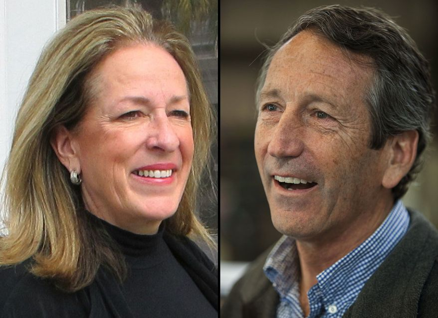 This photo combination shows Elizabeth Colbert Busch posing outside her campaign headquarters in Charleston, S.C., on Wednesday, Feb. 13, 2013, left, and Former South Carolina Gov. Mark Sanford speaking with reporters at Hay Tire & Automotive in Mount Pleasant, S.C., on Monday, April 22, 2013. (AP Photo/Bruce Smith and Mic Smith)