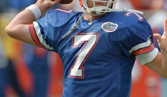 Florida quarterback Danny Wuerffel's calming leadership on the Gator's reminds Florida State fans of Heisman Trophy winner Charlie Ward, who twice buried archrival Florida with perhaps his best collegiate preformances. Wuerffel is shown during the Gator's game with Vanderbilt Nov. 18, 1995 in Gainesville. (AP Photo/Chris O'Meara)