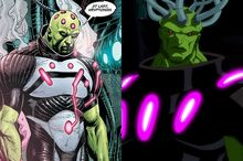 Artist Gary Frank's Brainiac compared to the animated version in Superman: Unbound.