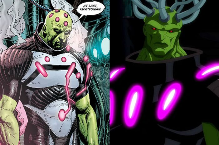 Artist Gary Frank's Brainiac compared to the animated version in