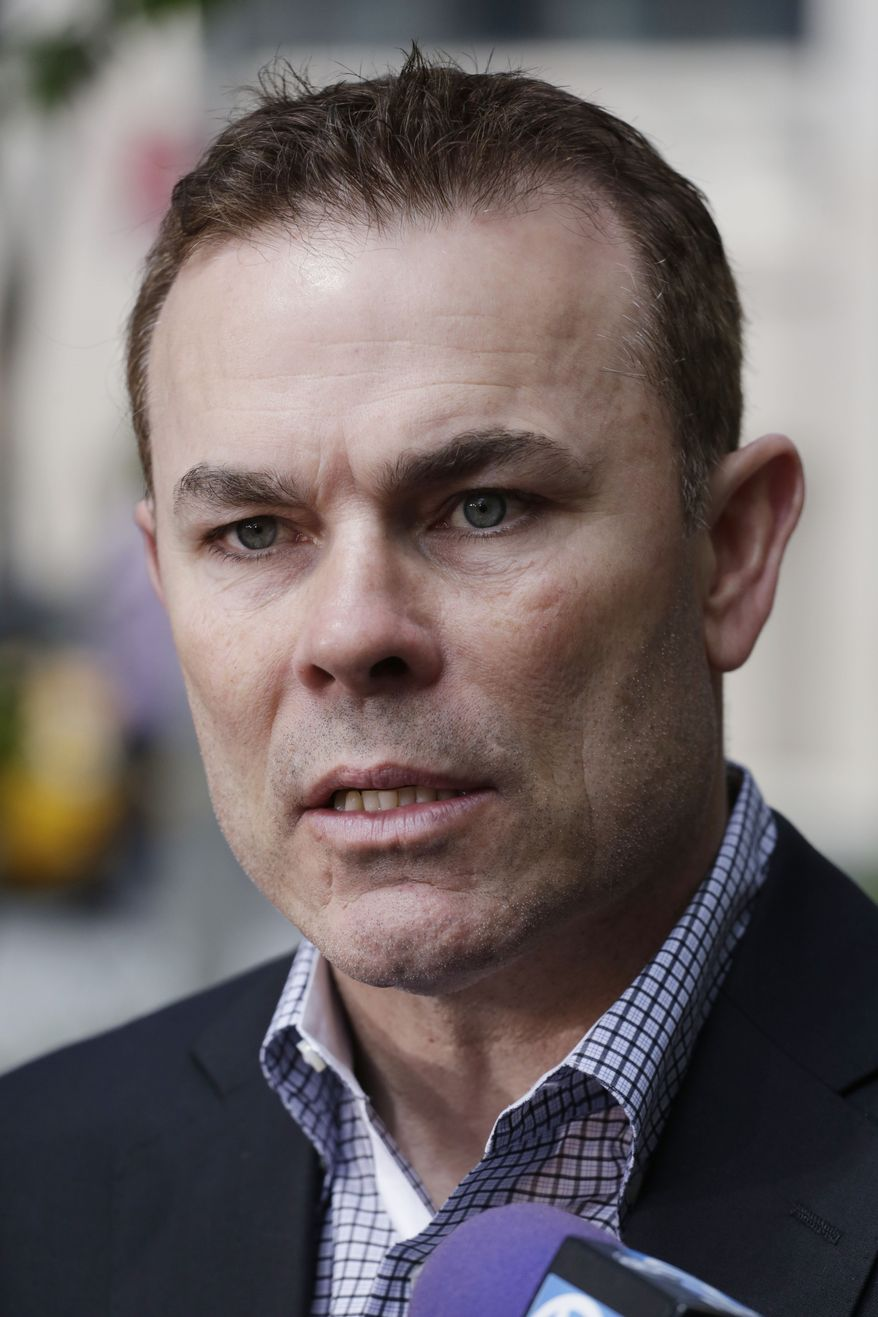 Washington Capitals head coach Adam Oates talks to the media during a news conference, Tuesday, May 7, 2013 in New York. The Capitals lead the New York Rangers 2-1 in their first-round NHL hockey Stanley Cup playoff series. (AP Photo/Mark Lennihan)