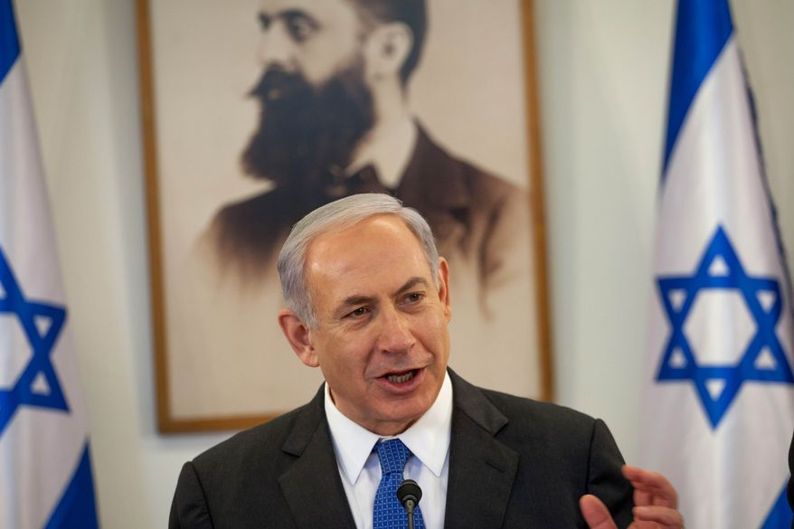 Israeli Prime Minister Benjamin Netanyahu attends the weekly Cabinet meeting at the Herzl Museum in Jerusalem on Sunday, May 5, 2013. (AP Photo/Emil Salman, Pool)