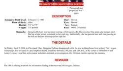"""This image provided by the FBI shows the updated """"Missing Person"""" poster for Georgina """"Gina"""" DeJesus. A frantic phone call on Monday, May 6, 2013, led police to a house near downtown Cleveland where Miss DeJesus and two other women who vanished about a decade ago were found. (AP Photo/FBI)"""