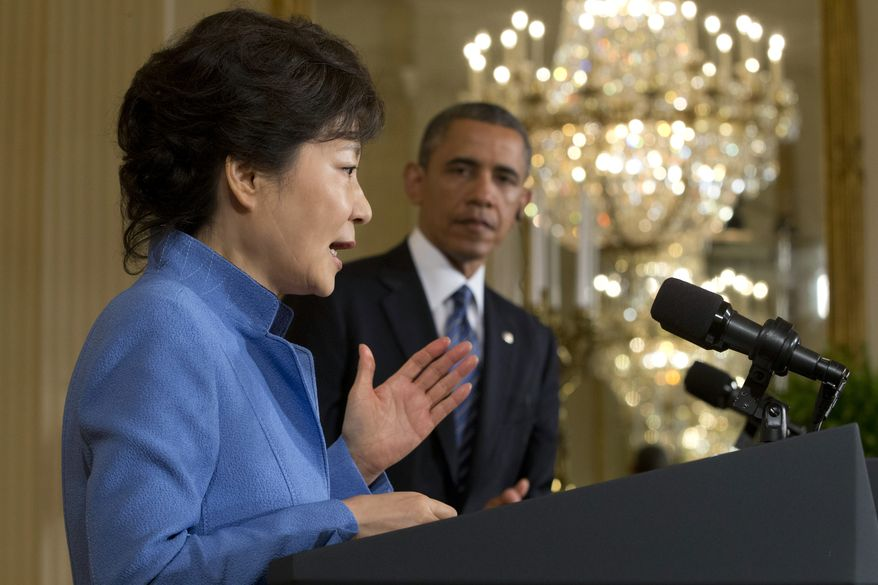 South Korean President Park Geun-Hye speaks during a news conference with President Obama in the East Room of the White House in Washington on Tuesday, May 7, 2013. (AP Photo/Jacquelyn Martin)