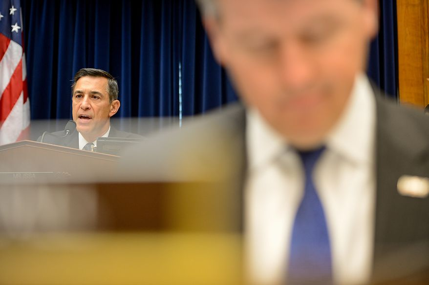 Chairman Darrell Issa (R-Calif.) speaks as State Department officials Acting Deputy Assistant Secretary for Counterterrorism Mark Thompson, Foreign Service Officer and former Deputy Chief of Mission/ChargÈ díAffairs in Libya Gregory Hicks, and Diplomatic Security Officer and former Regional Security Officer in Libya Eric Nordstrom testify before a House Oversight and Government Reform Committee hearing on the September 11, 2012 attack in Benghazi, Libya on Capitol Hill, Washington, D.C., Wednesday, May 8, 2013. (Andrew Harnik/The Washington Times)