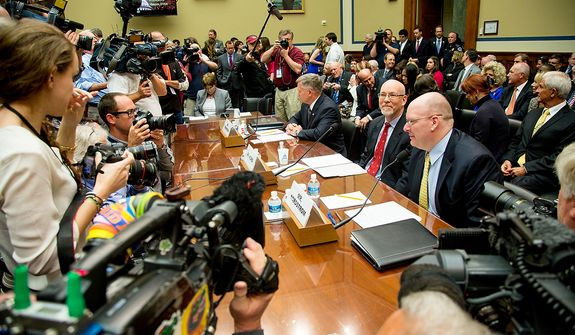 Left to right: State Department officials Acting Deputy Assistant Secretary for Counterterrorism Mark Thompson, Foreign Service Officer and former Deputy Chief of Mission/ChargÈ díAffairs in Libya Gregory Hicks, and Diplomatic Security Officer and former Regional Security Officer in Libya Eric Nordstrom arrive to testify before a House Oversight and Government Reform Committee hearing on the September 11, 2012 attack in Benghazi, Libya on Capitol Hill, Washington, D.C., Wednesday, May 8, 2013. (Andrew Geraci/The Washington Times)