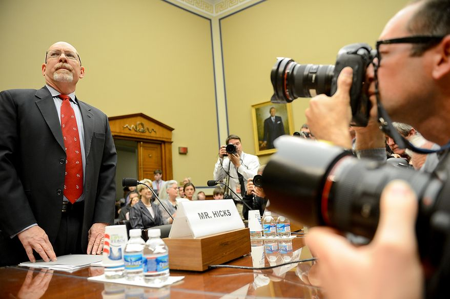 Foreign Service Officer and former Deputy Chief of Mission/ChargÈ díAffairs in Libya Gregory Hicks arrives to testify before a House Oversight and Government Reform Committee hearing on the September 11, 2012 attack in Benghazi, Libya on Capitol Hill, Washington, D.C., Wednesday, May 8, 2013. (Andrew Harnik/The Washington Times)