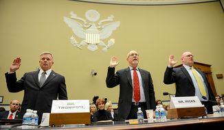 Left to right: State Department officials Acting Deputy Assistant Secretary for Counterterrorism Mark Thompson, Foreign Service Officer and former Deputy Chief of Mission/ChargÈ díAffairs in Libya Gregory Hicks, and Diplomatic Security Officer and former Regional Security Officer in Libya Eric Nordstrom are sworn in to testify before a House Oversight and Government Reform Committee hearing on the September 11, 2012 attack in Benghazi, Libya on Capitol Hill, Washington, D.C., Wednesday, May 8, 2013. (Andrew Harnik/The Washington Times)