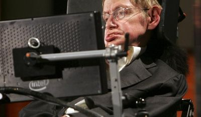**FILE** In this April 21, 2008, file photo, Professor Stephen Hawking of the University of Cambridge makes remarks at an event marking the 50th anniversary of NASA, at George Washington University in Washington. (Associated Press)