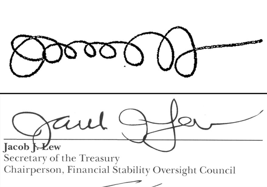 This combination shows the signatures of Treasury Secretary Jacob Lew from a Sept. 21, 2011, memo posted on the White House website when he was Office of Management and Budget director, top, and as Treasury Secretary on the 2013 annual report for the Financial Stability Oversight Council, bottom. (AP Photo)