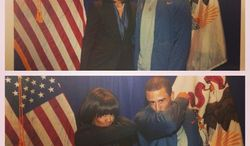 """San Francisco 49ers quarterback Colin Kaepernick tweeted this photo as he and First Lady Michelle Obama performing his signature touchdown pose, known as """"Kaepernicking."""" (Instagram/Colin Kaepernick)"""