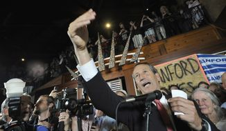 Former South Carolina Gov. Mark Sanford gives his victory speech in Mt. Pleasant, S.C., on on May 7, 2013, after winning back his old congressional seat in the state's 1st District. (Associated Press)