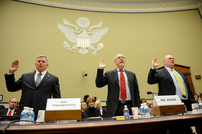 Left to right: State Department officials Acting Deputy Assistant Secretary for Counterterrorism Mark Thompson, Foreign Service Officer and former Deputy Chief of Mission in Libya Gregory Hicks, and Diplomatic Security Officer and former Regional Security Officer in Libya Eric Nordstrom are sworn in to testify before a House Oversight and Government Reform Committee hearing on the Sept. 11, 2012, attack in Benghazi, Libya, on Capitol Hill, Washington, D.C., Wednesday, May 8, 2013. (Andrew Harnik/The Washington Times)