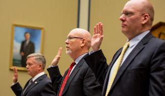 Left to right: State Department officials Acting Deputy Assistant Secretary for Counterterrorism Mark Thompson, Foreign Service Officer and former Deputy Chief of Mission in Libya Gregory Hicks, and Diplomatic Security Officer and former Regional Security Officer in Libya Eric Nordstrom are sworn in to testify before a House Oversight and Government Reform Committee hearing on the Sept. 11, 2012, attack in Benghazi, Libya, on Capitol Hill, Washington, D.C., Wednesday, May 8, 2013. (Andrew Geraci/The Washington Times)