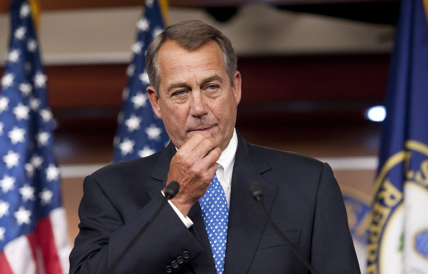 **FILE** House Speaker John Boehner, Ohio Republican, meets with the press at the U.S. Capitol in Washington on May 9, 2013. (Associated Press)