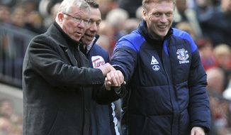 FILE - This is a April 22, 2012 file photo of Manchester United manager Sir Alex Ferguson, left, and Everton manager David Moyes during the Manchester United and Everton match at Old Trafford Manchester England . Everton said Thursday May 9, 2013 that its manager David Moyes is leaving the club at the end of the season and wants to replace Alex Ferguson at Manchester United. While United has not yet made an announcement on who will succeed Ferguson at Old Trafford, the statement from Everton clears the way for Moyes to be hired. (AP Photo/Martin Rickett/PA)