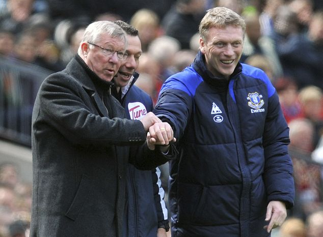 FILE - This is a April 22, 2012 file photo of Manchester United manager Sir Alex Ferguson, left, and Everton manager David Moyes during the Manchester United and Everton match at Old Trafford Manchester England . Everton said Thursday May 9, 2013 that its manager David Moyes is leaving the club at the end of the season and wants to replace Alex Ferguson at Manch